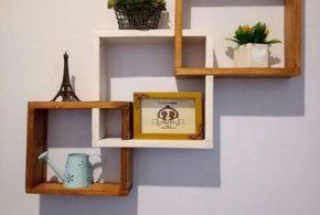 Desain Rak Dinding Minimalis Dari Kayu Jati Belanda