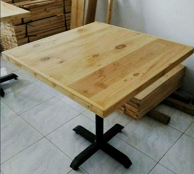 Meja cafe minimalis kayu jati belanda rangka besi indoor for Kitchen set kayu jati belanda