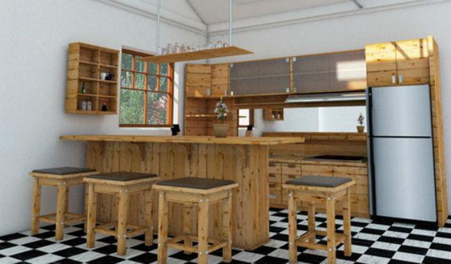 Mini Bar Dapur Minimalis Kayu Jati Belanda